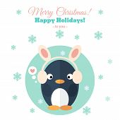Holiday Card With Penguin In Flat
