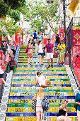 RIO DE JANEIRO - CIRCA NOV 2014: Tourists at Escadaria Selaron in Rio de Janeiro, Brazil. The stairway is famous work of Chilean artist Jorge Selaron.