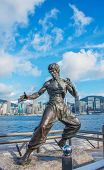 Hong Kong - JULY 27, 2014: Bruce Lee Statue on July 27 in China, Hong Kong. Bruce Lee monument is attraction at Star Avenue.