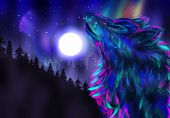 foto of wolf moon  - Colorful northern landscape with howling wolf spirit and aurora borealis - JPG