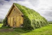 stock photo of viking  - A replica of a house Vikings would have lived in in Iceland - JPG