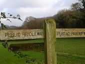 Wooden Public Bridleway and Public Footpath Sign