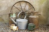 image of wagon  - Rustic scene with wagon wheel - JPG