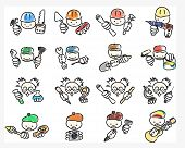 Doodle Icons Of Professions