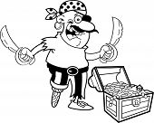 stock photo of peg-leg  - Black and white illustration of a pirate with a treasure chest - JPG