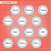 Retro style kitchen spices storage tags collection
