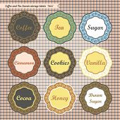 Retro style kitchen sweet storage tags collection