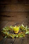 stock photo of lime-blossom  - Christmas composition with linden blossom on old wooden table - JPG
