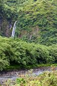 Tahiti. Mountain river and fall