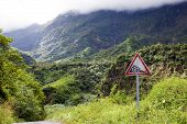 Tahiti.The road in mountains. Tropical nature.