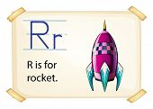 A letter R for rocket on a white background