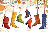 Fashionable colored women's boots,shoes,autumn leaves