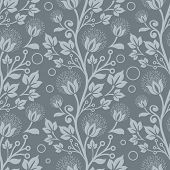 Seamless blue floral vector wallpaper pattern.
