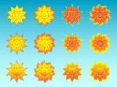 Flower Sun Stylized Ethnic Icons Set