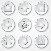 Vector abstract white round paper icon multimedia set