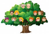 Illustration of a completed family tree