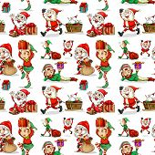 A christmas design with elves on a white background
