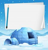 image of igloo  - Illustration of an igloo with papers and a pencil - JPG
