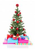 Christmas Tree With Red Balls And Gifts Isolated At White