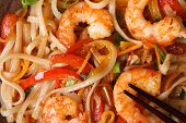 Rice Noodles With Shrimp Macro Horizontal View From Above