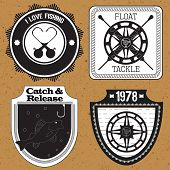 Stickers, Labels On The Theme Of Fishing Vector