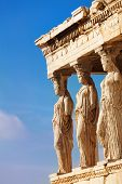 Statues of Erechtheion in Athens, Greece