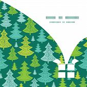 Vector holiday christmas trees Christmas gift box silhouette pattern frame card template
