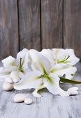 Beautiful lily on wooden table