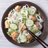 Rice Noodles With Chicken And Cucumbers Close-up Top View