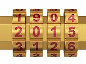 stock photo of combination lock  - 3d render of golden 2015 Year combination lock - JPG