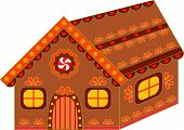 Isolated Decorated Gingerbread House Vector