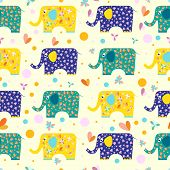 Funny Cartoon Elephant Pattern Seamless Background