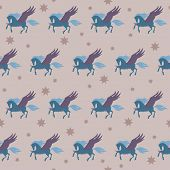 Soft Colored Pegasus Seamless Pattern Background