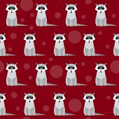 Raccoon Seamless Pattern Background