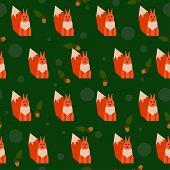 Squirrel Seamless Pattern Background