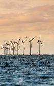 image of generator  - wind turbines power generator farm for renewable energy production along coast baltic sea near Denmark at sunset or sunrise - JPG