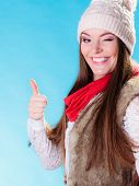 Woman In Winter Woolen Cap Ok Gesture