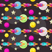 Bright Colored Vector Space Pattern Background With Colorful Bright Planets And Spaceships