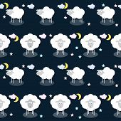 foto of inference  - Funny vector seamlelss pattern background with clouds stars and cute sheep in open space - JPG