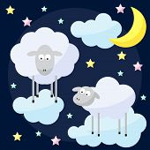 stock photo of inference  - Funny vector night background with cartoon moon clouds stars and sheep the symbol of the new year of the sheep on the dark cover - JPG