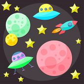 Bright Colored Vector Space Cover With Colorful Planets, Stars, Ufo And Spaceship On Dark Open Space