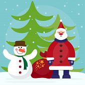 Funny Cartoon Winter Holidays Background With Santa, Fir And Cute Snowman
