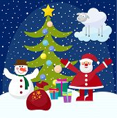 Funny Picture For Use In Design On Winter Holiday Greeting Card With Santa Claus, Fir, Funny Snowman