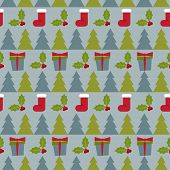 Winter Holidays Pattern Background With Gifts,fir  And  Branch Of Holly
