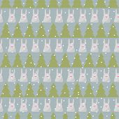 Winter Holidays Pattern Background With Green Fir And Funny Cartoon Rabbit On The Grey Cover