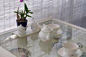 Ceramic Utensils With Flower Decorated In Restaurant