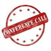 Red Weathered Conference Call Stamp Circle And Stars