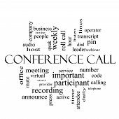 Conference Call Word Cloud Concept In Black And White