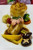 Grille Snowfish Serve Wasabi Sauce Mushroom And Baby Corn