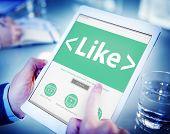 Digital Online Social Media Networking Like Office Concept